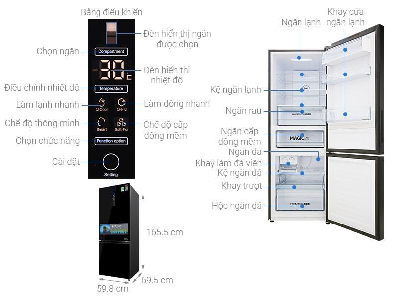 các bộ phận chi tiết của Tủ lạnh Aqua AQR-IG338EB GB