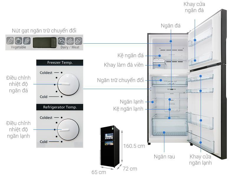 kích thước Tủ lạnh Hitachi Inverter 339 lít R-FG450PGV8 GBK