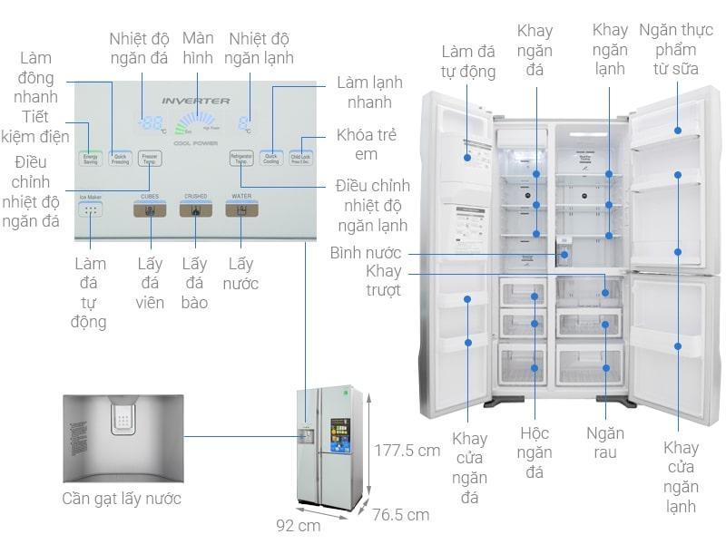 Tủ lạnh Hitachi Inverter 584 lít R-M700GPGV2 GS