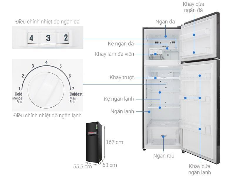 các bộ phận chi tiết của Tủ lạnh LG GN-M255BL
