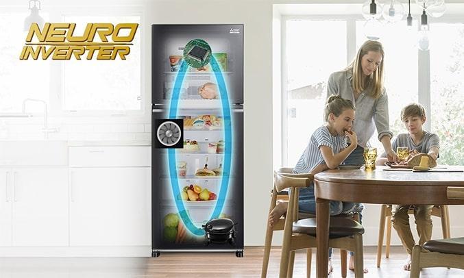Tủ Lạnh Mitsubishi Electric MR-FX47EN-GBK-V có công nghệ tiết kiệm điện neuri inverter