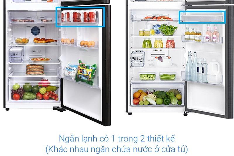 ngăn lạnh có 1 trong 2 thiết kế khác nhau