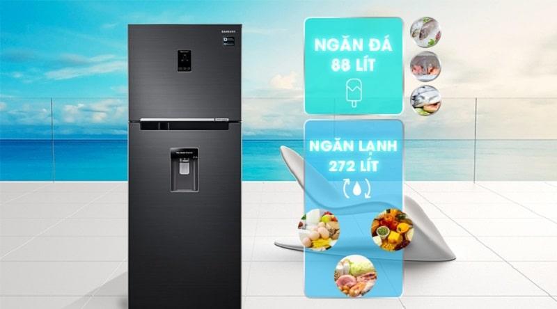 Tủ lạnh Samsung RT35K5982BS/SV dung tích phù hợp với gia đình 3-4 thành viên
