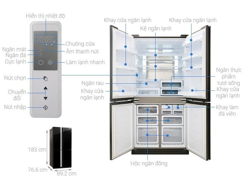 Các bộ phận chi tiết của Tủ lạnh Sharp SJ-FX688VG-BK