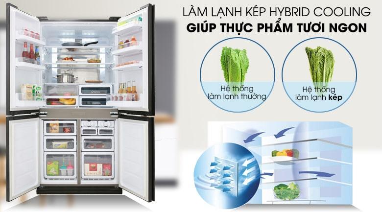 hệ thống làm lạnh kép HYBRID COOLING giúp thực phẩm tươi ngon