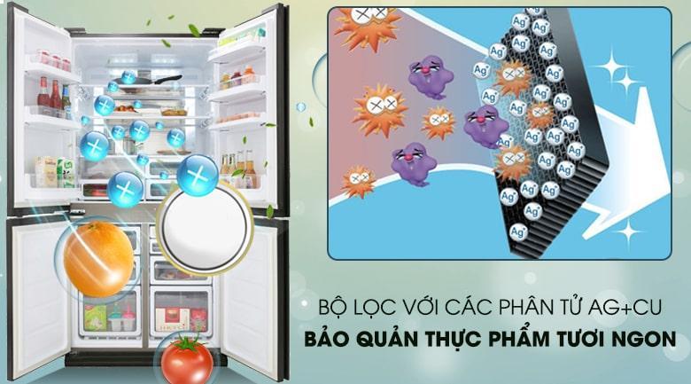 bộ lọc với các phần tử Ag+Cu bảo quản thực phẩm tươi ngon