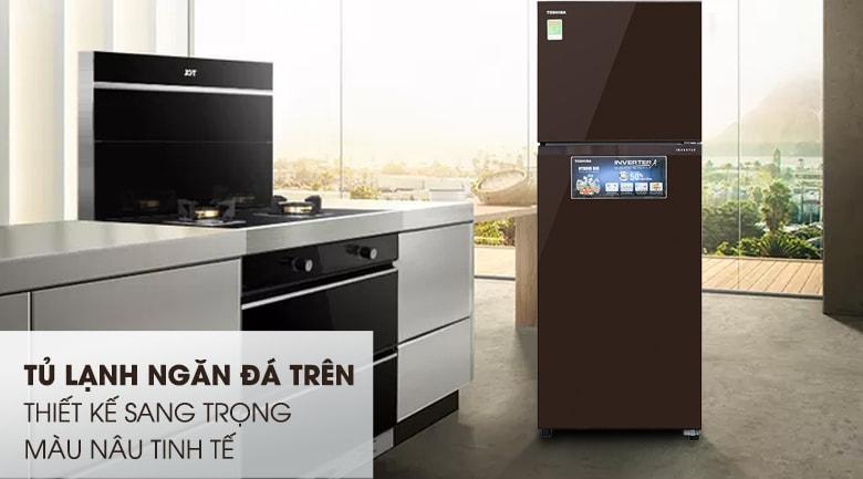Tủ lạnh Toshiba GR-AG36VUBZ XB thiết kế đơn giản,màu nâu tinh tế