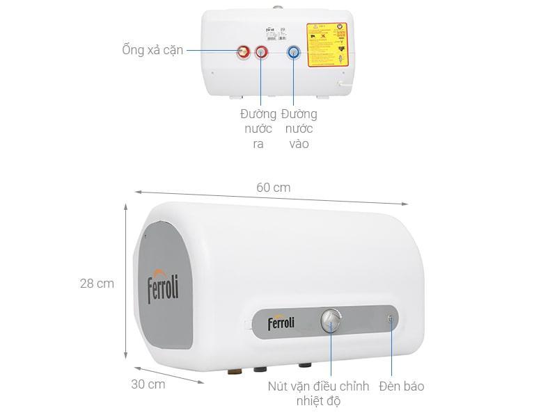 mô tả chi tiết Bình nóng lạnh Ferroli QQ Evo 20L ME