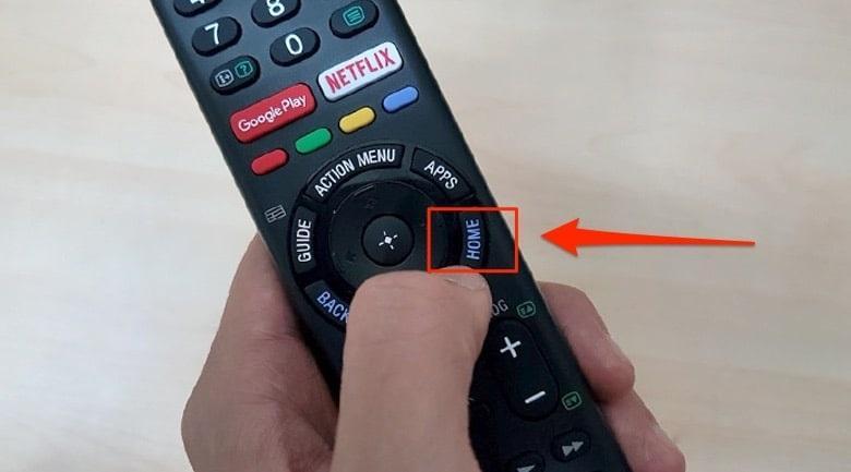 ấn phím home trên remote