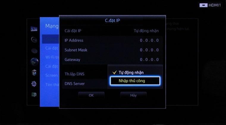 thiết lập nhập DNS trong chọn nhập thủ công