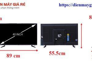 Kích thước tivi 40 inch là bao nhiêu?