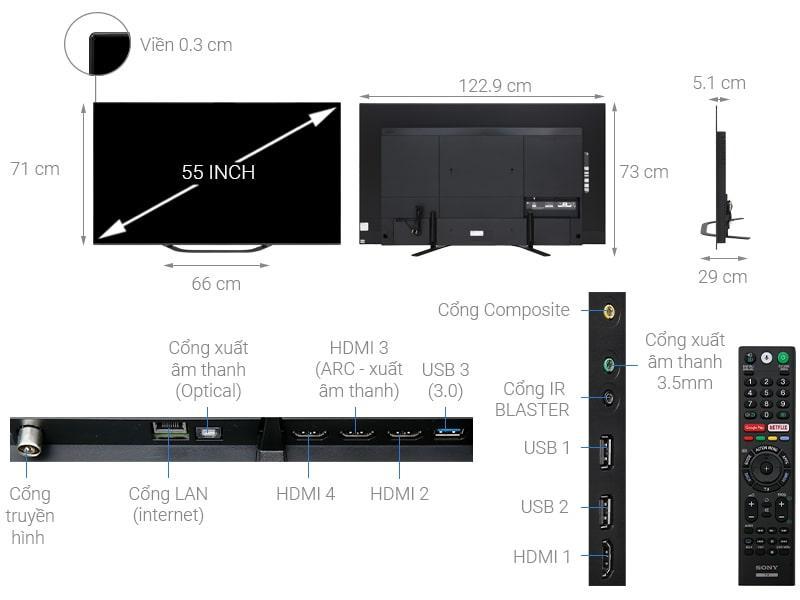 Android Tivi OLED Sony KD-55A8G mô tả chi tiết