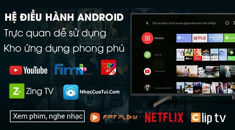 Android Tivi Sony KD-55X8000G trang bị hệ điều hành Android