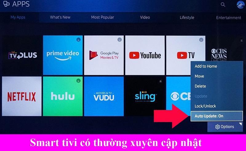 Smart tivi cập nhật ứng dụng thường xuyên