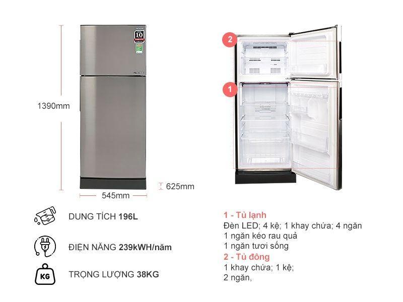 Tủ Lạnh SHARP SJ-X201E-SL thiết kế của tủ lạnh