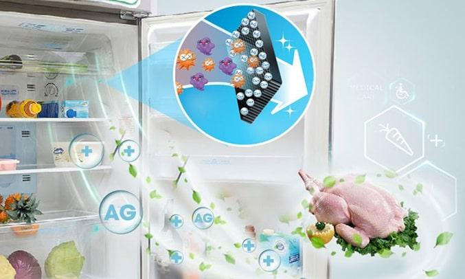Tủ Lạnh SHARP SJ-X201E-SL chứa phân tử bạc khủ mùi