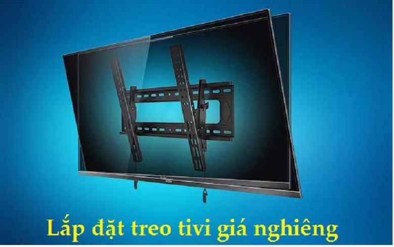 lắp đặt tivi với giá treo nghiêng