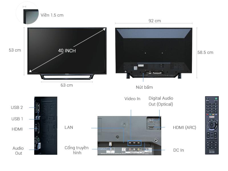 Tivi Sony KDL-40W650D mô tả chi tiết