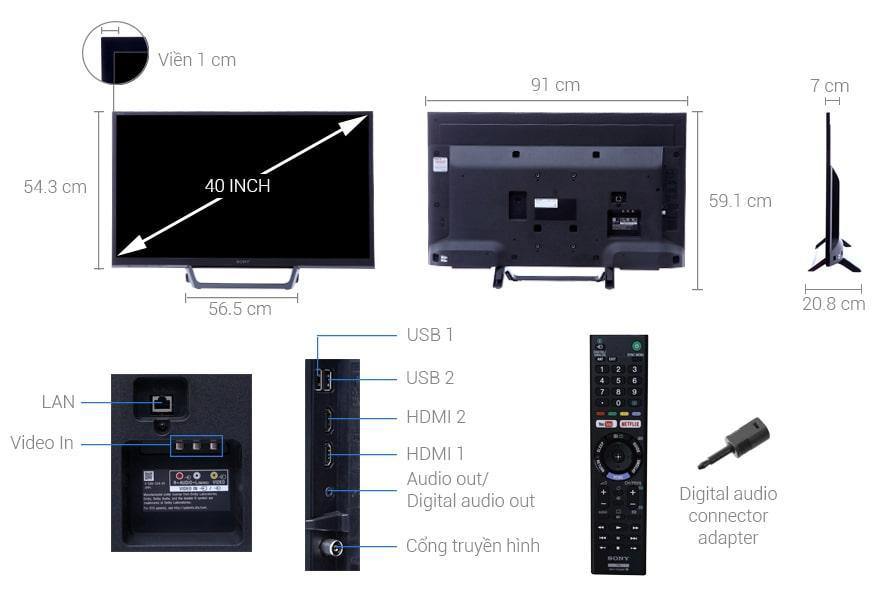 Tivi Sony KDL-40W660E mô tả chi tiết