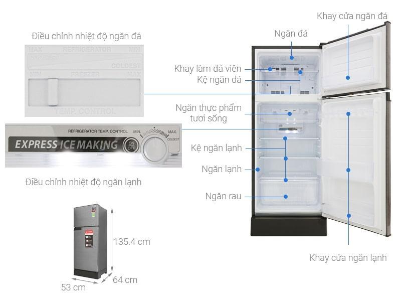 Tủ lạnh Sharp SJ-X196E-DSS mô tả chi tiết