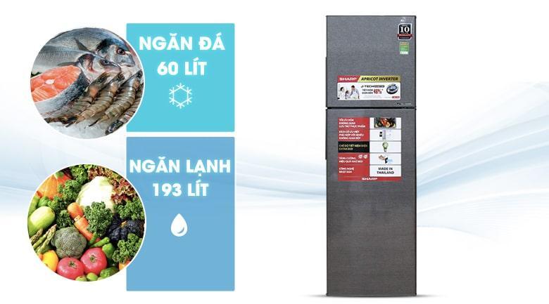 Tủ lạnh Sharp SJ-X281E-DS gồm ngăn đá 60 lít, ngăn lạnh 193 lít