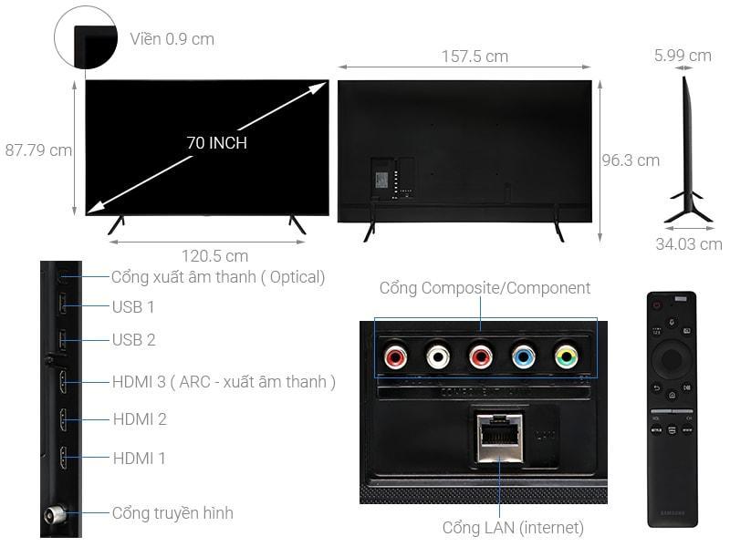 mô tả chi tiết sản phẩm Tivi Samsung UA70RU7200