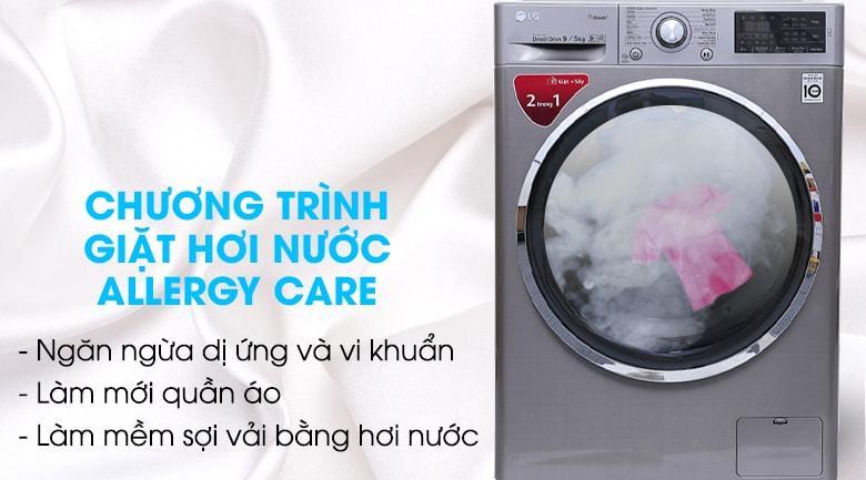 Máy giặt sấy LG FC1409D4E chương trình giặt hơi nước Allergy Care