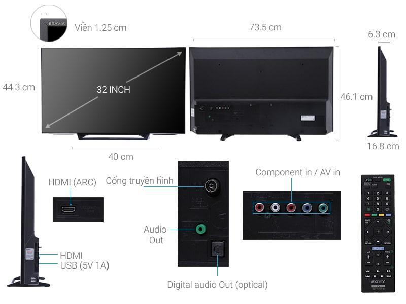 mô tả chi tiết Tivi Sony KDL-32R300E 32 inch