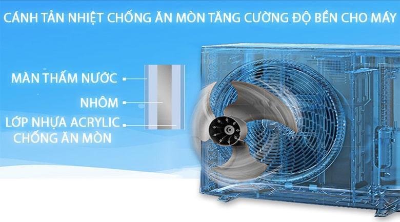 Điều hòa có độ bền cao nhờ cánh tản nhiệt dàn nóng