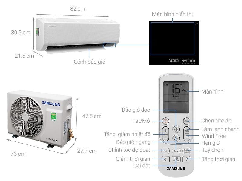 Điều hòa Samsung AR13TYGCDWKNSV Wind-Free Inverter 1.5 HP