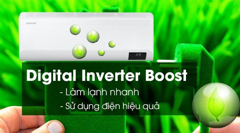 Điều hòa Samsung AR13TYHYCWKNSV trang bị công nghệ Digital Inverter Boost vừa tiết kiệm điện vừa hiệu quả