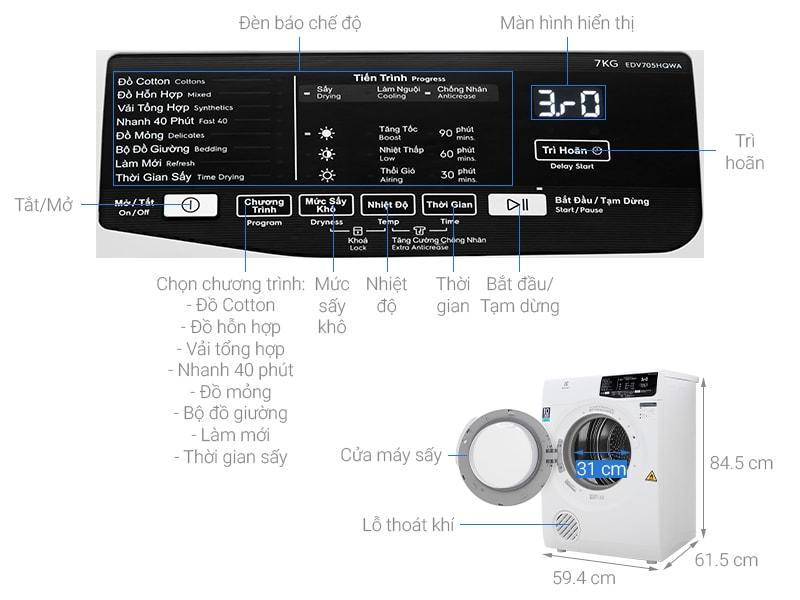 Máy sấy Electrolux EDV705HQWA mô tả chi tiết sản phẩm