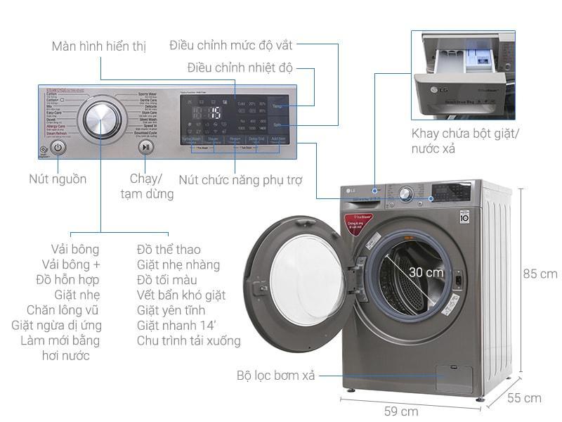 Máy giặt LG FC1409S2E chi tiết