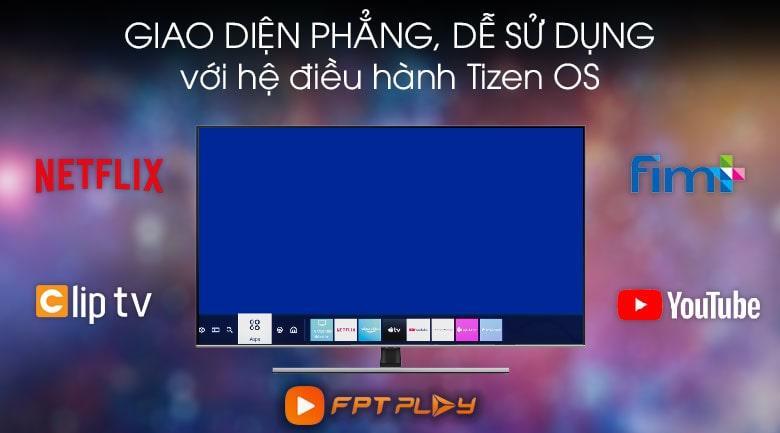 Tivi QA75Q70T sử dụng hệ điều hành Tizen OS độc quyền