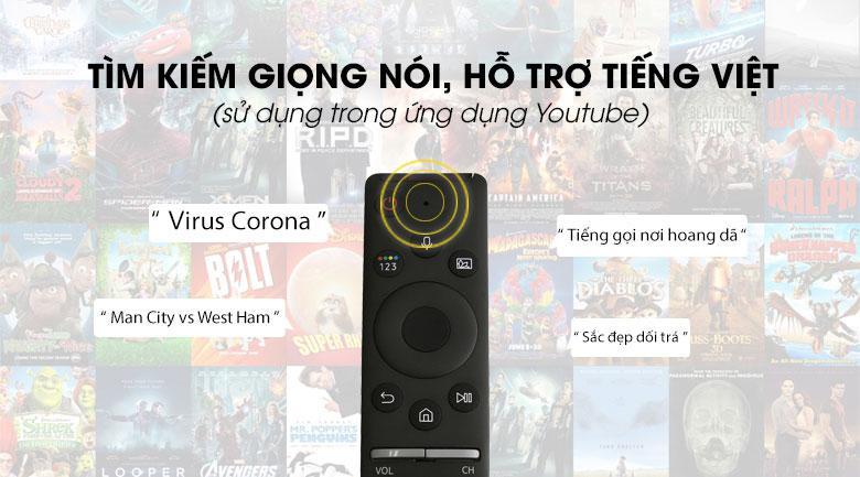 Tivi QLED Samsung QA55Q70T cóhỗ trợ tìm kiếm giọng nói bằng tiếng Việt trên YouTube