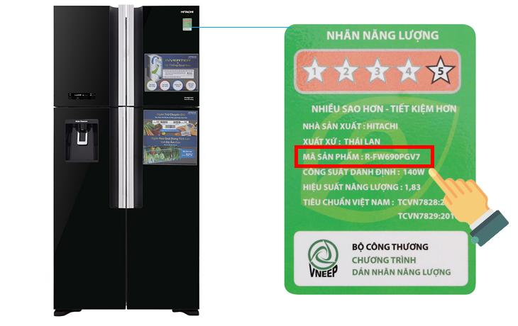 tủ lạnh Hitachi R-FW690PGV7 Inverter 540 lít