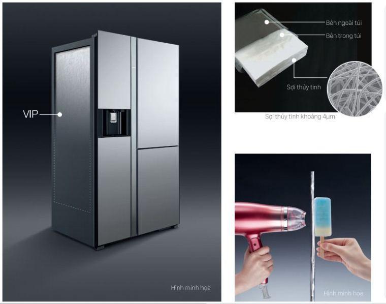 Được trang bị tấm cách nhiệt chân không – Vacuum Insulation Panel – VIP