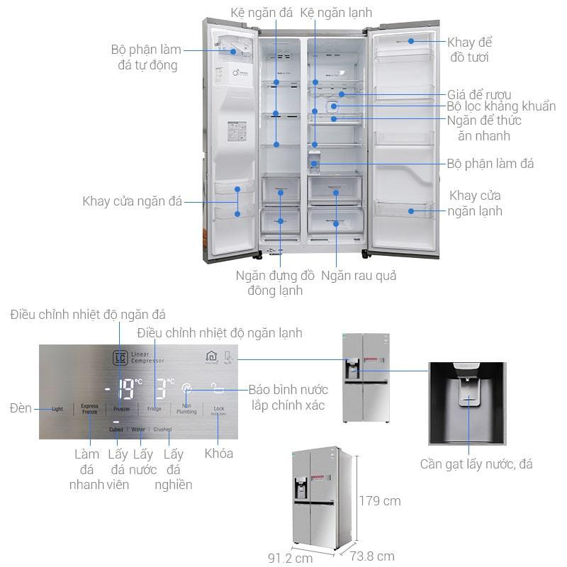Tủ lạnh LG GR-D247JS thiết kế chi tiết