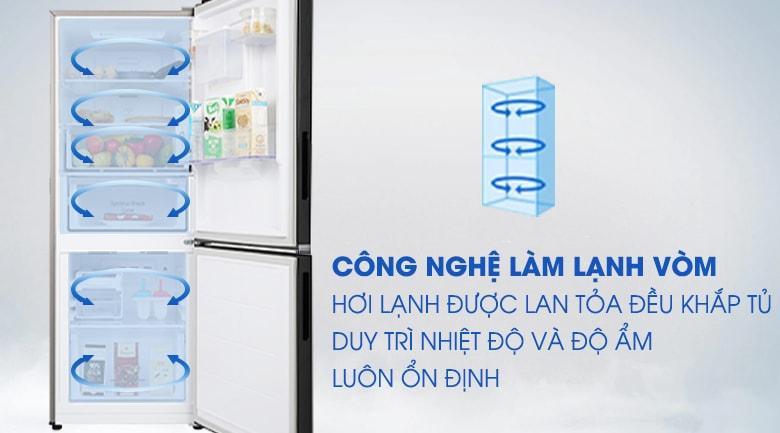 Công nghệ làm lạnh dạng vòm giúp làm lạnh đều khắp tủ