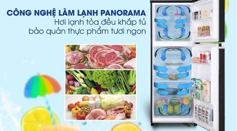 Tủ lạnh Panasonic NR-BA229PKVN thổi hơi lạnh nhanh và đều nhờ công nghệ Panorama