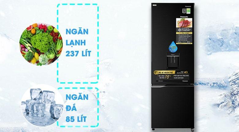 Tủ lạnh Panasonic NR-BC360WKVN thiết kế ngăn đá dưới tiện dụng