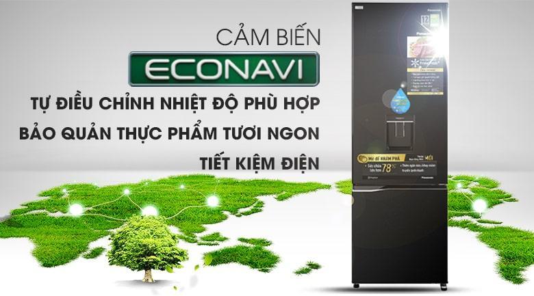 Tủ lạnh Panasonic NR-BC360WKVN tiết kiệm điện năng tiêu thụ vượt trội với công nghệ cảm biến Econavi