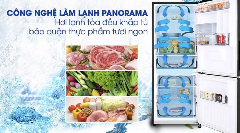 Mang hơi lạnh tỏa đều mọi vị trí trong tủ với công nghệ làm lạnh Panorama