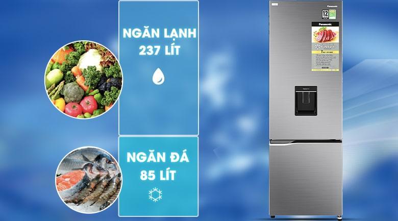 Tủ lạnh Panasonic NR-BV360WSVN dung tích 322 lít, phù hợp với gia đình 3 - 4 người