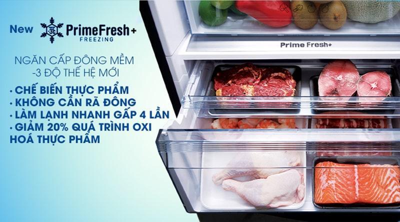 Bảo quản thịt cá tươi ngon đến 7 ngày, chế biến không cần rã đông vớingăn cấp đông mềm chuẩn -3 độ thế hệ mới Prime Fresh+