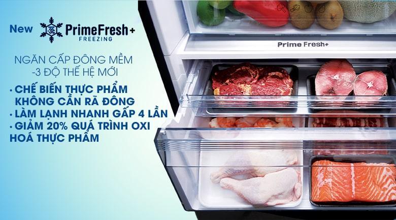 Bảo quản thực phẩm tươi mới lên đến 7 ngày, chế biến không cần rã đông với ngăn cấp đông mềm chuẩn -3 độ thế hệ mới Prime Fresh+