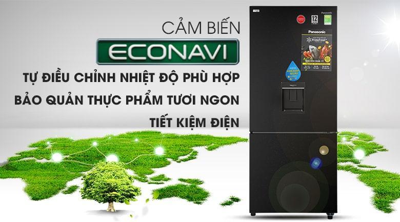 Tủ lạnh Panasonic Inverter 368 lít NR-BX410WKVN Khả năng tiết kiệm điện với công nghệ Econavi