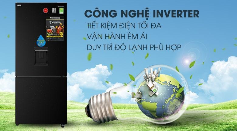 Tủ lạnh Panasonic Inverter 368 lít NR-BX410WKVN vận hành êm ái và tiết kiệm điện năng hiệu quả với công nghệInverter