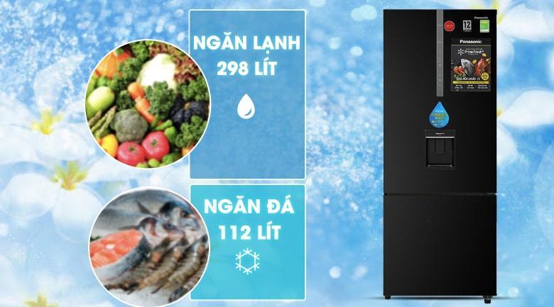 Tủ lạnh Panasonic Inverter 410 lít NR-BX460WKVN dung tích lớn 410 lít và thiết kế ngăn đá dưới tiện dụng