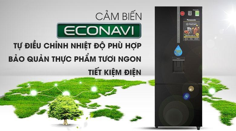 Tủ lạnh Panasonic Inverter 410 lít NR-BX460WKVN tiết kiệm điện năng tiêu thụ vượt trội với công nghệ cảm biến Econavi